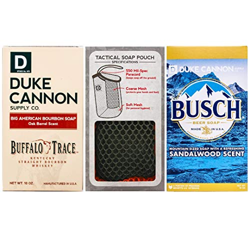 Duke Cannon Supply Co Mens Soap on a Rope Set, 3 Piece - Tactical Scrubber Soap Pouch with (2) Big Brick of Soap, 10oz, with Bourbon Soap (Oak Barrel Scent) and Busch Beer Soap (Sandalwood Scent)