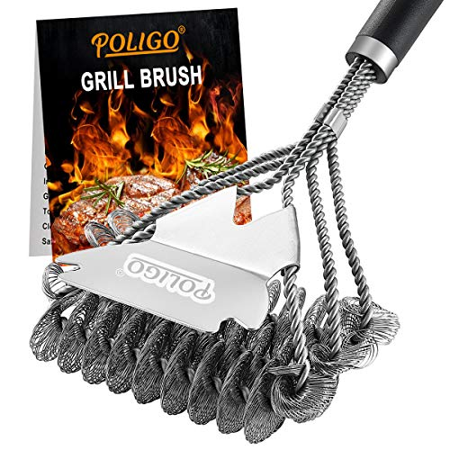 POLIGO BBQ Grill Cleaning Brush Bristle Free Scraper - Triple Helix Design Barbecue Cleaner - Non-Bristle Grill Brush and Scraper Safe for Gas Charcoal Porcelain Grills - Ideal Grill Tools Gift