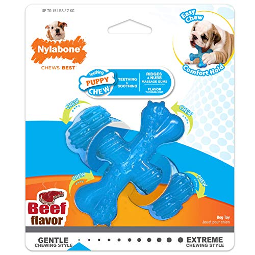 Nylabone Puppy Chew X Bone Chew Toy Beef Flavor Small/Regular - Up to 15 lbs.