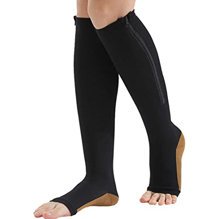 Copper Infused Toeless Compression Calf Socks with Zipper for Women and Men Black, S//M 2 Pairs