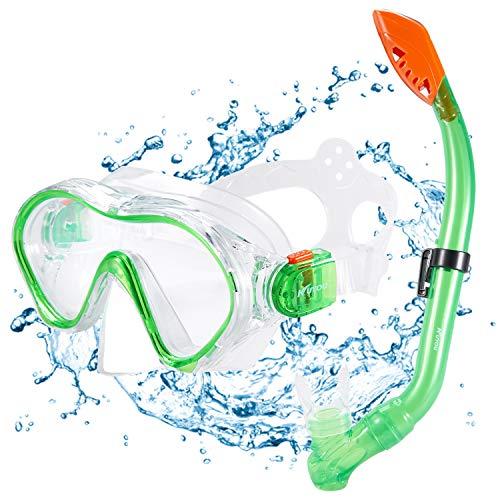 KUYOU Premium Kinder Schnorchelset Taucherbrille mit Schnorchel Tauchset gehärtete Anti-Beschlag Gläser Taucherbrille wasserdichte Tauchmaske und trockenem Schnorchel Set (Grün)