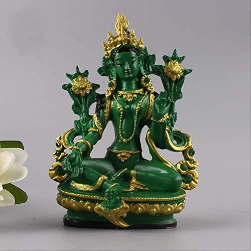 ZAAQ Buddha StatueDekorative Ornamente HauptdekorationenTibet tibetische Buddhismus-Statue Grüne Tara Buddha Statue