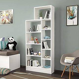 Homemania Libreria Alvino Bianco 146x29x147 cm Legno