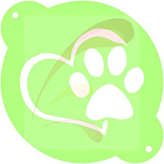 ArtWyse Heart and Paw, Love, Dog, Best Friend, Cookie Stencil, Cake Stencil, Coffee Stencil, Candy Stencil, Cupcake Stencil for Royal Icing, Powders, sugars, Edible Glitters and Airbrushing