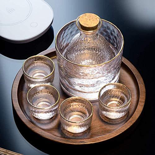 ZHIRCEKE Conjunto de cálidos de Cristal de 6 Piezas Set de Sake Frío, con 1 Sake Bocadillo, 1 Botella de Jarra de Sake y 4 Tazas de Tiro de Sake, para Vino japonés más cálido o frío