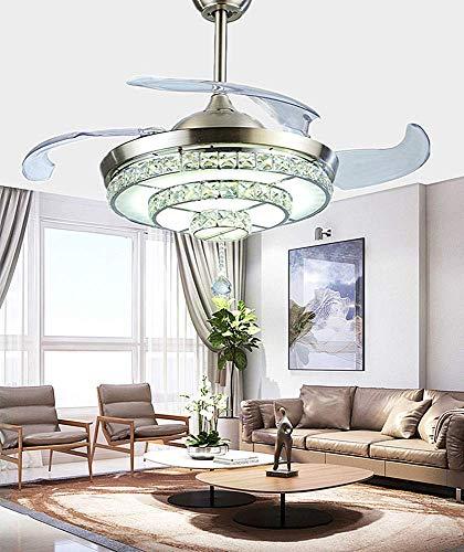 Ventilador de techo de cristal cromado de 42 pulgadas con luz y control remoto, ventilador invisible regulable, tipo escalera, luz LED moderna para dormitorio, sala de estar