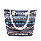 ZhengYue Beach bag Large Summer Canvas Tote Bags Shoulder Bag Holiday Shopping Bag for Women Ladies and Girls (Retro Blue1)