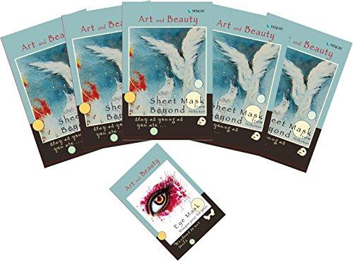 5 Anti-Rides Masque + 1 Anti-Rides Masque pour les yeux - anti-âge, anti-rides, nourrissante, hydratante - Avec la fibre botanique TENCEL(R) d'origine Autrichienne