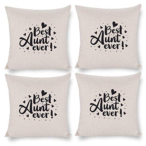 No branded Pack 4,Pillow Covers 18x18 Set of 4,Throw Pillow Cases Home Decor 4pcs Best Aunt Ever Farmhouse Square Pillow Cushion Pillowcase for Sofa Bedroom Car Patio Chair Nursery