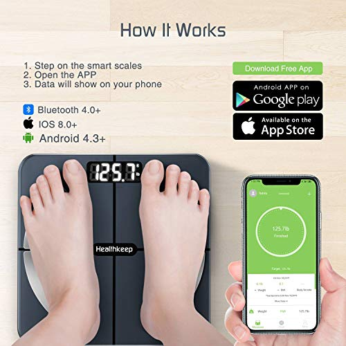 Scales for Body Weight Healthkeep Bathroom Scale Smart Wireless Scales Digital Weight and Body Fat