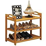 Zapatero Rack de zapatos de bambú de 3 capas Estante de zapatos de almacenamiento multifuncional Estante de zapatos de almacenamiento de múltiples funciones Estante para Zapatos ( Size : S )