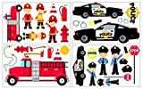 Adesivi da parete per cameretta bambini, motivo vigili del fuoco/polizia, 34 pezzi 4x 16x26cm