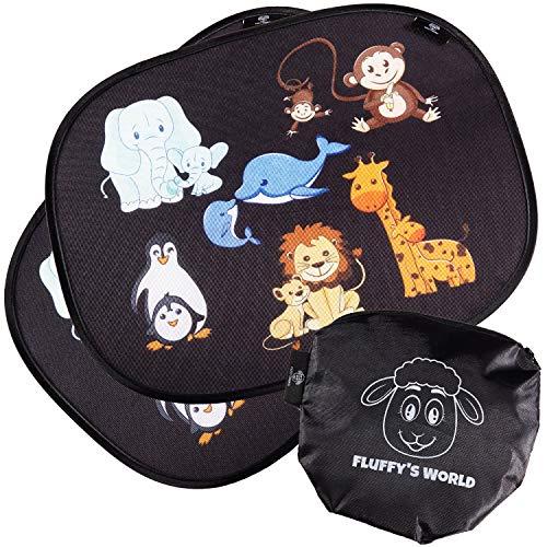Fluffy's World Tendine parasole Auto bambini - con protezione UV -con foglio adesivo statico - tendina parasole auto tendina parasole auto bambini tende parasole auto per bambini