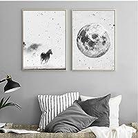 キャンバスプリントは家の引用であります犬動物のキャンバスの絵画白黒壁アートポスタープリント写真家の装飾5x070cmx2いいえフレーム