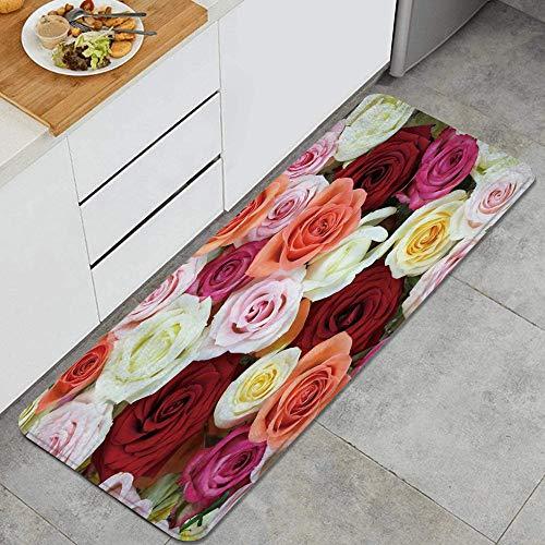 MUYIXUAN Alfombra de Cocina, Rosas Rojo Rosa Amarillo Fucsia Magenta Flor Colección Floral Diseño de impresión,tapete Decorativo para Piso de Cocina con Respaldo Antideslizante, 47'x17'