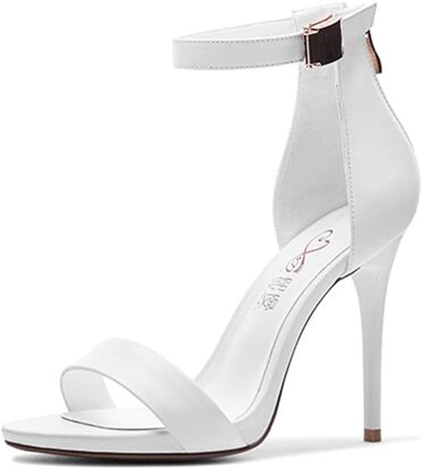 CJC High-Heeled Sandals Open Toe High Heels Thin Heels Women's shoes (color   White, Size   EU39 UK6)