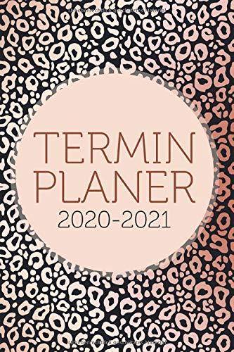 Terminplaner 2020 2021: Kalender und Terminkalender 2020 2021 – 1 Woche auf 2 Seiten, Wochenplaner und Monatsplaner - Der schöne Taschenkalender 2020 ... notieren, Din a5 Rosa Gold Abstrakt schwarz