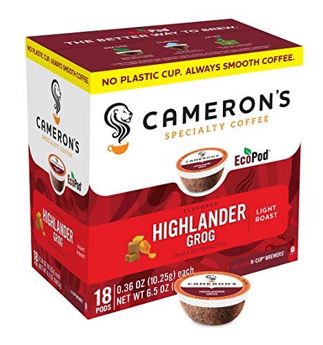 Cameron's Coffee Single Serve Pods, Flavored, Highlander Grog, 18 Count (Pack of 1)
