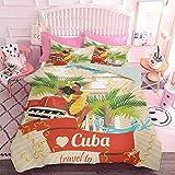 Hiiiman - Juego de 3 fundas de edredón para cultura cubana y atracciones, diseño de señora local sonriente en el coche clásico entre palmas (3 unidades, tamaño King Size) con 2 fundas de almohada