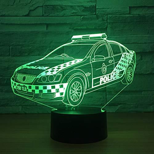 Lámpara 3D para coche de policía, lámpara de noche con luz óptica LED, 7 colores, táctil, lámpara de noche, dormitorio, mesa, arte, decoración infantil, luz de noche con cable USB