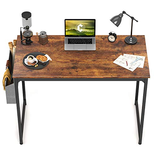 """CubiCubi Study Computer Desk 32"""" Home Office Writing Small Desk, Modern Simple Style PC Table, Black Metal Frame, Rustic Brown"""