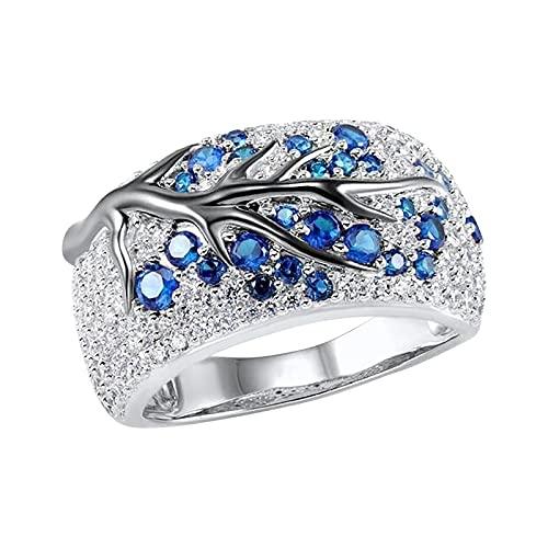 Houtian Anillo de compromiso de eternidad para mujer, anillo cuadrado de diamante, anillo de matrimonio, propuesta de temperamento en forma de diamante para mujer, Mujeres, HOU, azul, 36