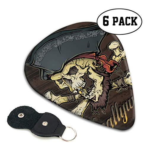 Skallywag Pirate Skull púas de guitarra flexibles para niños pequeños, regalo pesado para bajo, eléctrico, guitarras acústicas, paquete de 6, 0,71 mm