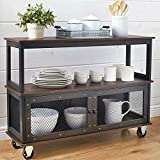 Briskly41 Industrial Style Rolling Dining Buffet Cart Kitchen Island Storage Hutch Table Server White or Black Vintage Look 3 Tiers 2 Doors with Wheels Furniture (Black)