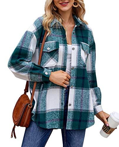 Women Plaid Flannel Wool Jacket Button Down Long Sleeve Winter Casual Shirt Shacket Coat Green