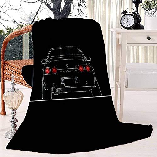 Mantas para Sofás Reversible de Franela/Sherpa Coche GTR R32 Blanco,Manta para Cama de 100% Microfibra Extra-Manta de Felpa,153x204 cm