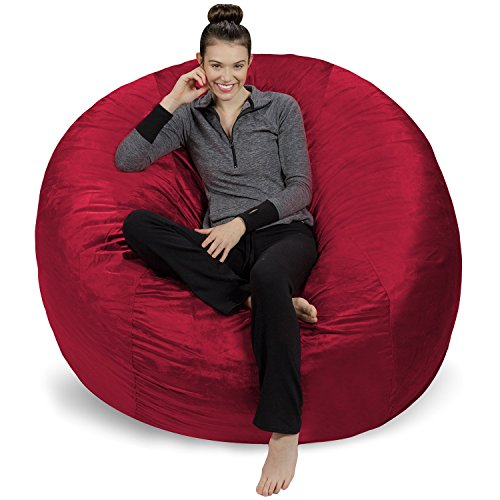 Sofa Sack - Plush Ultra Soft Bean Bags Chairs for Kids, Teens, Adults - Memory Foam Beanless Bag Chair with Microsuede Cover - Foam Filled Furniture for Dorm Room - Cinnabar 6'