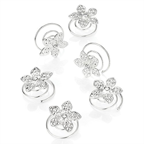 Set of 6 Silver Flower and Crystal Centre Silver Hair Twist Coils Jewels Bridal by Pritties Accessories