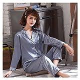 Mujer Satin Pijama Set - Conjunto De Pijama De 2 Piezas con Botones, Bolsillo, Manga Larga, Cárdigan, Ropa De Dormir, Moda Casual, Camisa Y Pantalón Lisos, Ropa De Dormir, Ropa De Casa, AZ