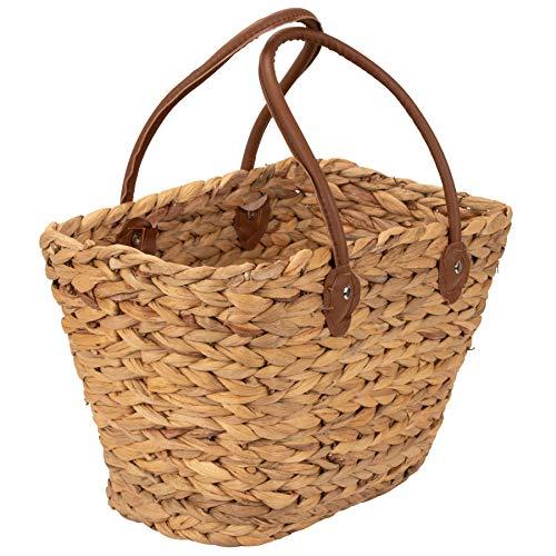 Moderne Einkaufstasche / Einkaufskorb / Seegras Korb, geflochtene Tasche mit Henkel zum einkaufen aus Wasserhyazinthe auch als Strandtasche oder Picknickkorb bestens geeignet!