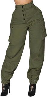iYBUIA Summer Women High Waist Harem Pants Elastic Waist Stripe Casual Pants