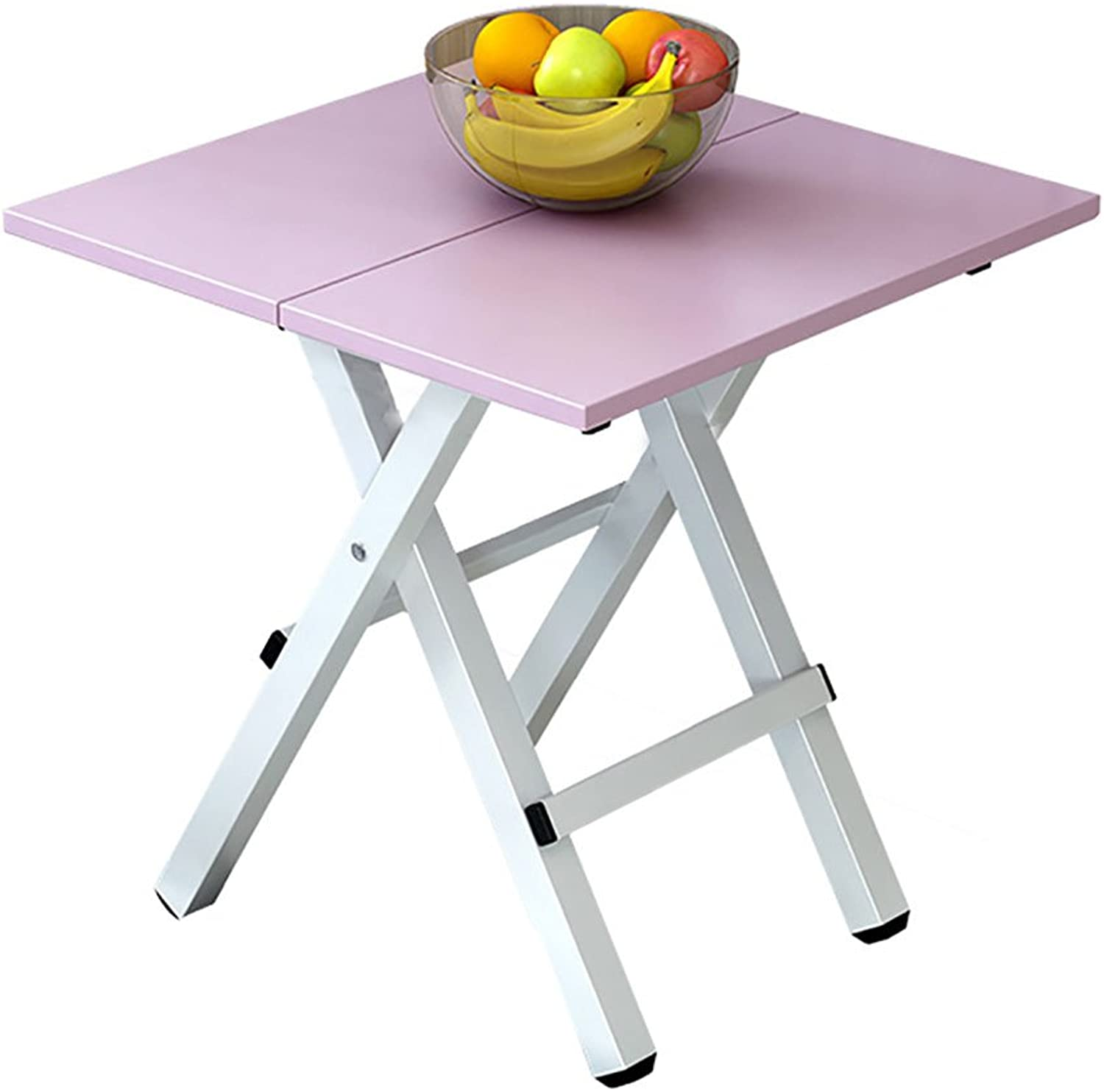 TY BEI Portable Small Folding - Dining Table Kitchen Camping - Wooden Square Foldable - Computer Desk - Coffee Table - with Metal Legs Without Inssizetion   (Size   48  48  51cm)