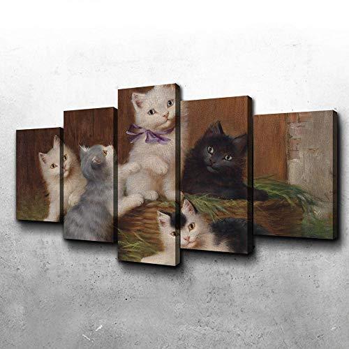 5 Piezas Lienzo Pintura,5 Paneles Cuadros,Impresión HD,Modular Póster,Decoración Hogareña,Mural Abstracto, 150Cm×80Cm,Niños Gato,con Marco