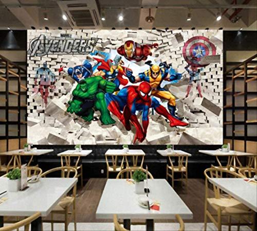 Personnalisé Photo Papier Peint Avenger Union Hulk Spiderman 3D Stéréoscopique Mur De Briques Fond Peinture Art Stickers Muraux