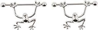 D DOLITY 2pcs Nipple Shield Rings Frog Animal Nipple Barbell Bar Body Jewelry Piercing14G