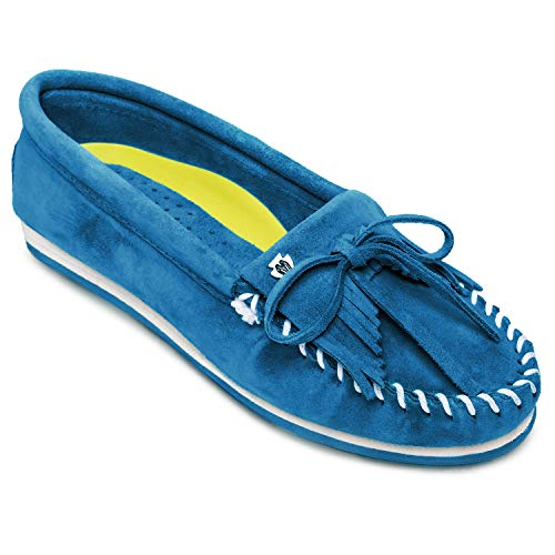 Minnetonka Women's Kilty Plus Suede Moccasins - Suede Loafer Shoes with Water Resistant Treatment 10 M Peacock Blue