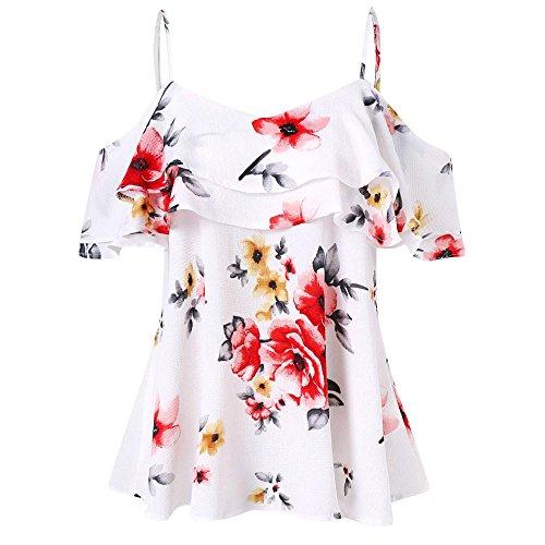 ESAILQ Damen Sommer T-Shirt Casual Streifen Patchwork Kurzarm Oberteil Tops Bluse Shirt(M,Weiß)