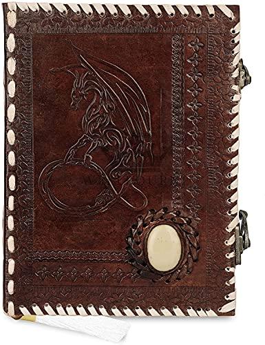 Cuaderno de cuero A6 Dragón de la Luna en relieve con piedras preciosas Diario de viaje hecho a mano con papel sin forro para escribir y dibujar Regalo para hombres y mujeres - Marrón