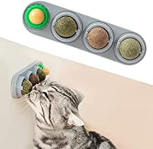Potaroma 4 Pack Catnip Ball Toys, Detachable Silvervine Balls, Edible Kitty Toys for Cats Lick, Safe Healthy Kitten Chew Toys, Teeth Cleaning Dental Cat Toy, Cat Wall Treats