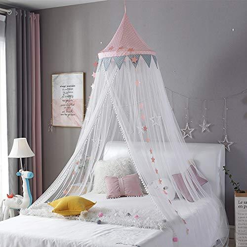 Colgante Mosquitera Cuna Toldo Cúpula Sueño Tienda de Cortina Cuna Redonda Niños Toldo Tienda Niños Habitación Decoración,Pink