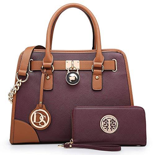 Fashion Women Satchel Handbags PU Leather Top Handle Tote Purse Chain Shoulder Bag with Wallet 2 Pcs Set (Purple)