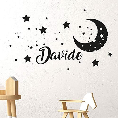 Adesivi Murali bambini Nome personalizzato Adesivo Murale cameretta luna stelle Wall Stickers Personalizzati nursery Decorazione da muro bambina bambino adesivo personalizzabile camera da letto