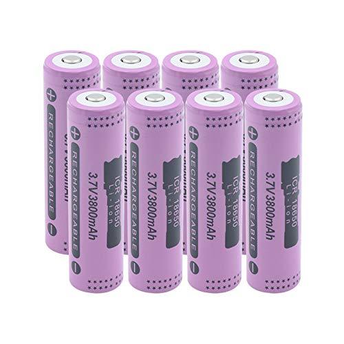 CNMMGL 3.7v 18650 3800mah Batería De Iones De Litio De Litio, Botón Recargable Celda Superior De BateríAs para Pointer Radio Power Bank 8pieces