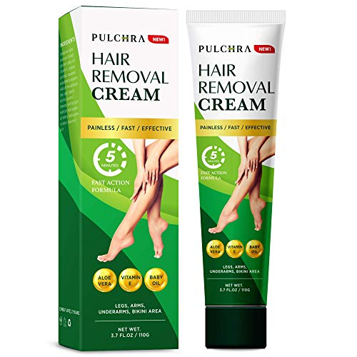 Pulchra Hair Removal Cream - Easy Application and Great Option for Hair Remover, 5 Minute Fast Action Formula, 110g