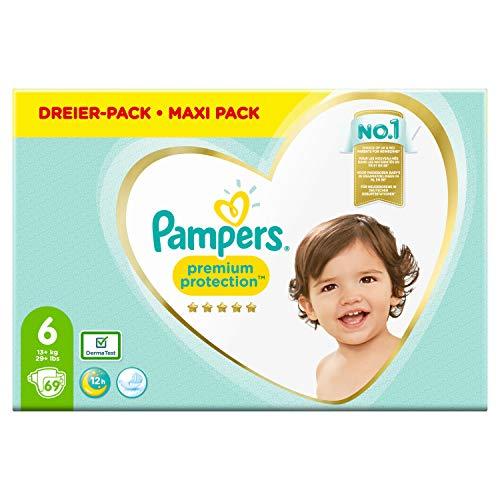 Pampers Premium Protection Windeln, Gr. 6, 13kg-18kg, Dreier-Pack (1 x 69 Windeln)