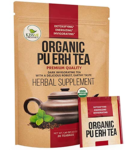 Kiss Me Organics Pu-erh Detox Tea - Premium Quality Fermented Organic Pu-erh Tea - Energizing,...